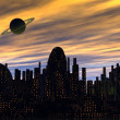 Stock Photo: City and planet