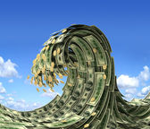 Dollars wave over blue sky — Stock Photo
