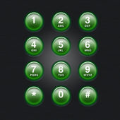 Green glowing telephone keypad illustration — Stock Photo