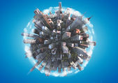 Miniature planet as concept for chaotic urban life — Stock Photo