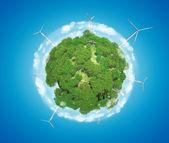 Windmills on Earth Planet (Alternative Energy Concept) — Stock Photo