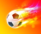 Football flamy on the color glow background — Stock Photo