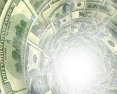 Dollar flow in white light hole — Stock Photo