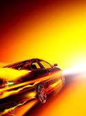 High-speed burning car — Stock Photo