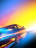 Alta velocidad auto en llamas — Foto de Stock