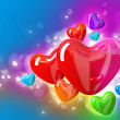 Valentin`s Day Card With Hearts - Stock Photo