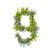 Number 9, flower alphabet isolated on white — Stok fotoğraf