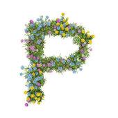Harf p, üzerinde beyaz izole çiçek alfabesi — Stok fotoğraf