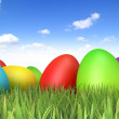Easter Eggs sitting on grass field with blue sky background — Stock Photo #9458005