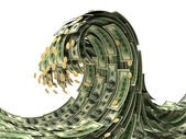 Dollars wave isolated on white — Stock Photo