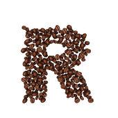 Abeceda z kávových zrn. izolované na bílém. — Stock fotografie