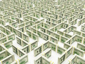 Financial Maze Labyrinth made of 100 usd banknotes. High resolution 3D rendering. — Stock Photo