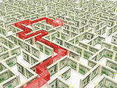 Business peoples in Financial Maze Labyrinth — Stock Photo