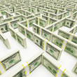 Financial Maze Labyrinth made of 100 usd banknotes. High resolution 3D rendering. — Stock Photo #9778616