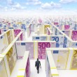 Businessman in Financial Maze Labyrinth — Stock Photo #9967845