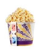 Wiadro pełne popcorn i okulary 3d — Zdjęcie stockowe