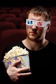 Man watching 3D movie — Stock Photo
