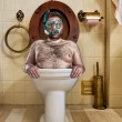 Stock Photo: Bizarre man in vintage toilet