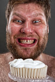 Ugly brushing teeth — Stock Photo