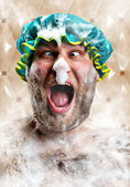 Bizarre man with soap foam on nose — Stock Photo