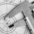Engineering drawing and caliper — Stock Photo
