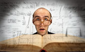 Surprised scientific mathematician — Stock Photo