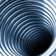 Inside the coiled metal springs — Stock Photo