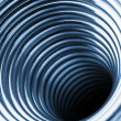 Inside the coiled metal springs - Stock Photo