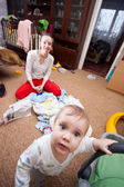 Baby escaping from crazy mother — Stock Photo