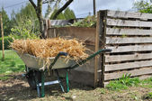 Compost bin and wheelbarrow — Stock Photo