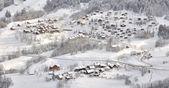 Wieś w krajobraz zimowy — Zdjęcie stockowe