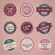 Set of vintage styled Valentine's day labels - Stock Vector