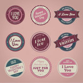 Set of vintage styled Valentine's day labels — Stock Vector