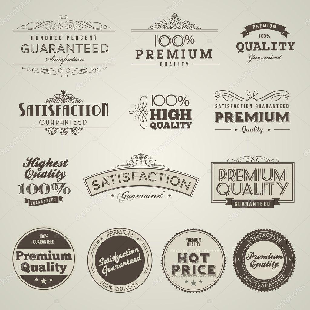 vintage gestileerd premie kwaliteitslabels stockvector tanjakrstevska 8274286. Black Bedroom Furniture Sets. Home Design Ideas