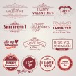Set of vintage Valentine's day labels - Stock Vector