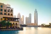 Dubai downtown at sunset — Stock Photo
