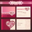 Stock vektor: Set of wedding invitation cards