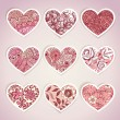 Set of heart shaped labels - Vettoriali Stock 