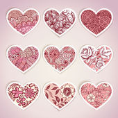 Set of heart shaped labels — Stock Vector
