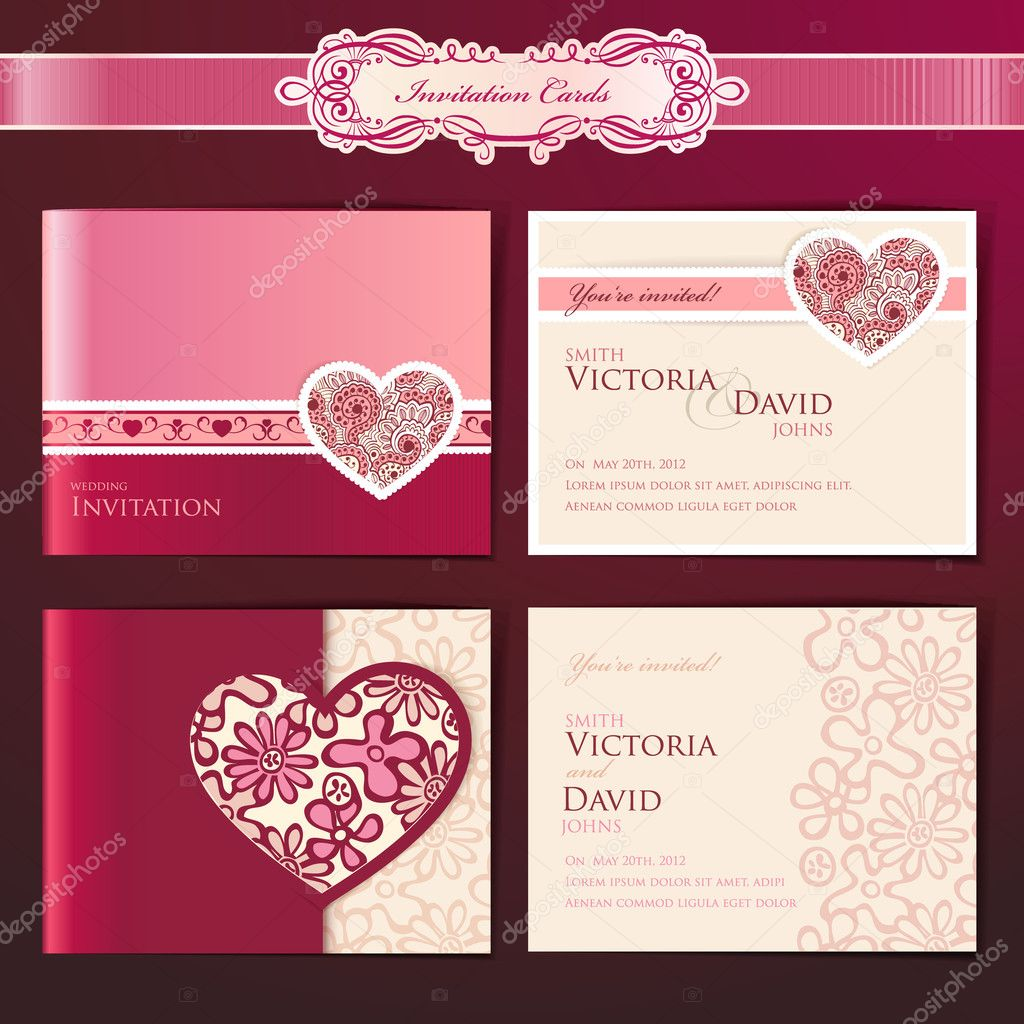 Set of wedding invitation cards, vector templates  Stock Vector #8561805