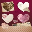 Valentine's day hearts and elements – vintage design — Imagen vectorial