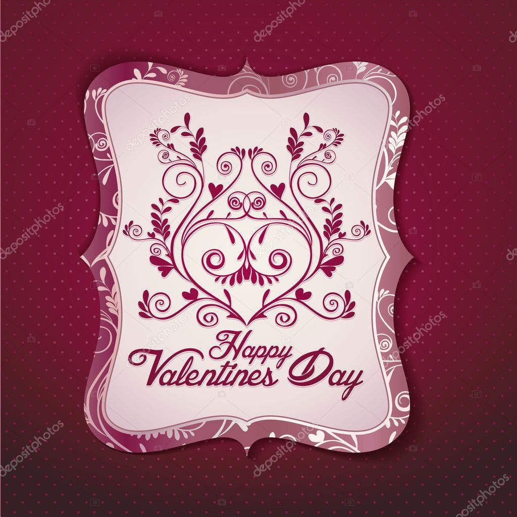 Valentine's day card vintage vector template  Stock Vector #8599853