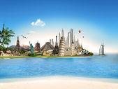 Turizm - tüm dünyada seyahat — Stok fotoğraf