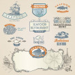 Seafood labels and elements — Vector de stock