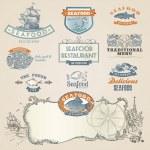 éléments et étiquettes de fruits de mer — Vecteur