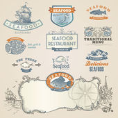 Seafood labels and elements — Stock Vector