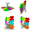 Set of 3d man with puzzle game — Stock Photo