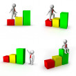 Set of 3d man with business chart - Stock Photo