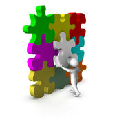 3d man with puzzle game — Stock Photo