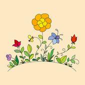 Hand dras blommor 2 — Stockvektor